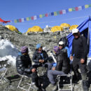 Sherpas sit at the Mount Everest base camp in April 2014.     REUTERS/Phurba Tenjing Sherpa