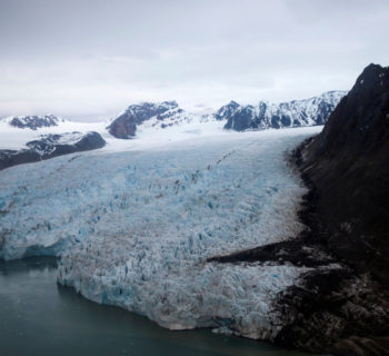 A view of the Blomstrand Glacier in Ny-Alesund, Norway during US Secretary of State John Kerry and Norwegian Foreign Minister Borge Brende toured the glacier, and made remarks about climate change on June 16, 2016. REUTERS/Evan Vucci/Pool/File Photo