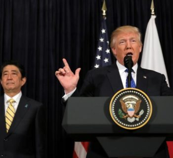 U.S. President Donald Trump delivers remarks on North Korea accompanied by Japanese Prime Minister Shinzo Abe at Mar-a-Lago club in Palm Beach, Florida U.S., February 11, 2017. REUTERS/Carlos Barria