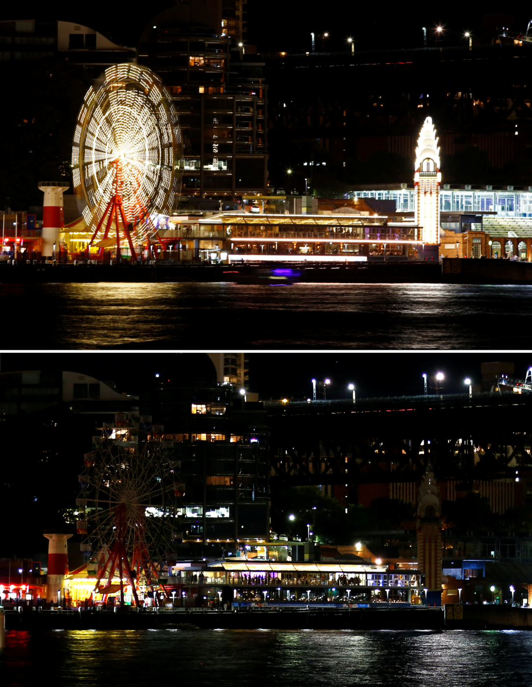 A combination photo shows the rides at Luna Park before and during the tenth anniversary of Earth Hour in Sydney, Australia, March 25, 2017.      REUTERS/David Gray