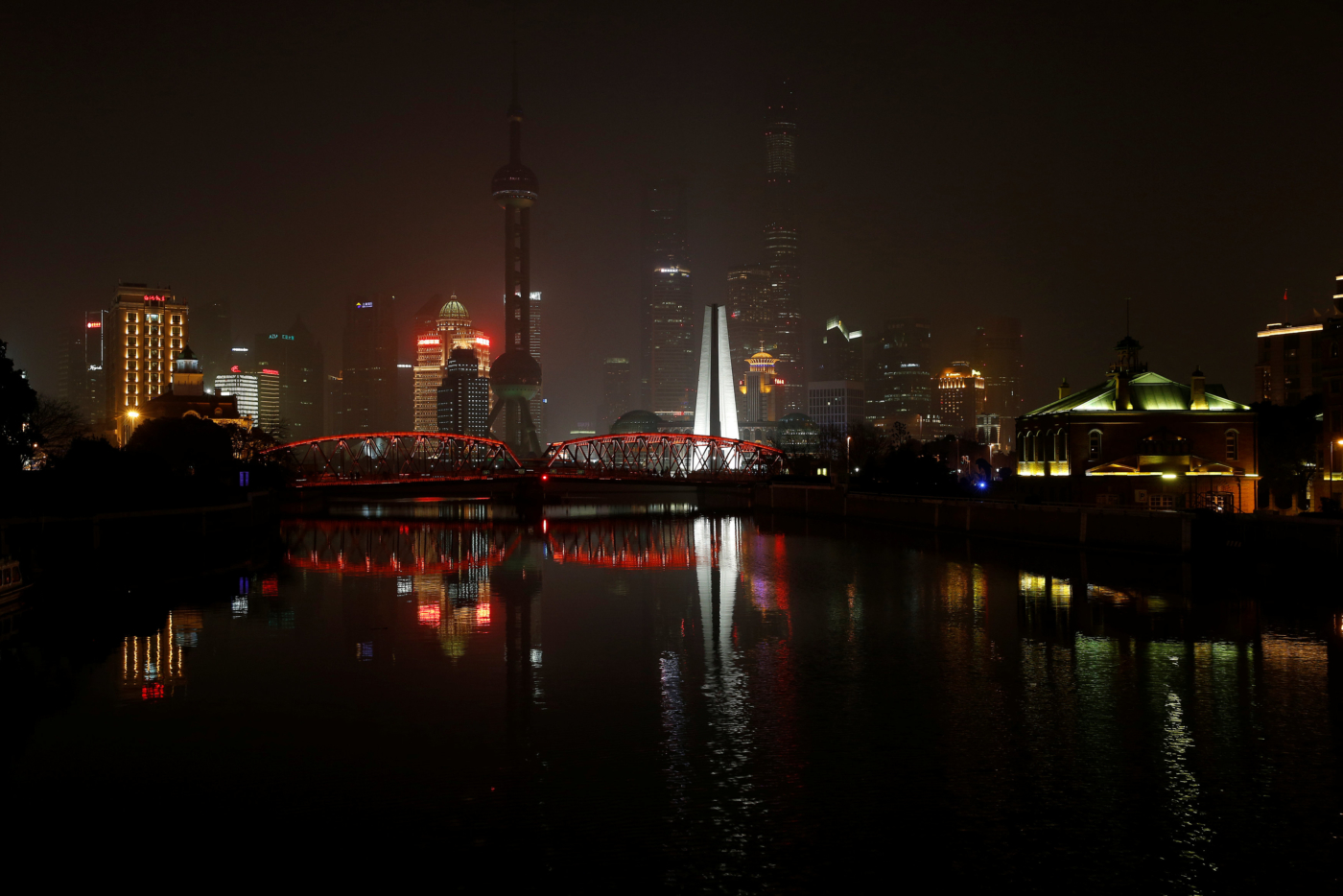 The Bund on the banks of the Huangpu River is pictured during Earth Hour in Shanghai, China March 25, 2017. REUTERS/Aly Song