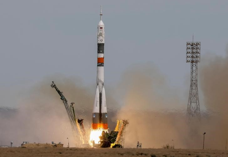 The Soyuz MS-04 spacecraft carrying the crew of Jack Fischer of the U.S. and Fyodor Yurchikhin of Russia, blasts off to the International Space Station (ISS) from the launchpad at the Baikonur Cosmodrome, Kazakhstan April 20, 2017. REUTERS/Shamil Zhumatov