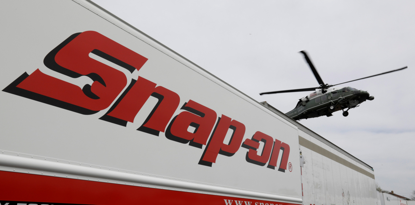 Marine One with U.S. President Donald Trump lands at the headquarters of Snap-On Inc, a tool manufacturer, in Kenosha, Wisconsin, U.S., April 18, 2017. REUTERS/Kevin Lamarque